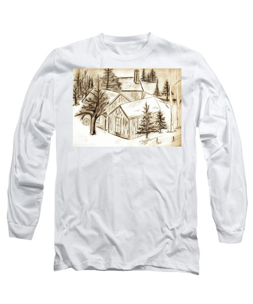Long Sleeve T-Shirt featuring the drawing Old Colorado by Shannon Harrington