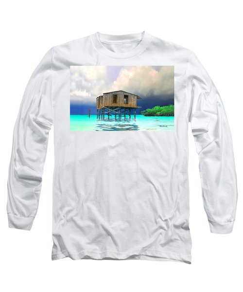 Old House Near The Storm Filtered Long Sleeve T-Shirt