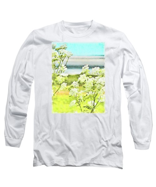 Long Sleeve T-Shirt featuring the digital art On The Mudflats Of Pegwell Bay by Steve Taylor