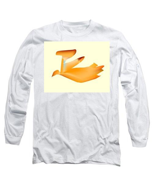 Orange Jetpack Penguin Long Sleeve T-Shirt by Kevin McLaughlin
