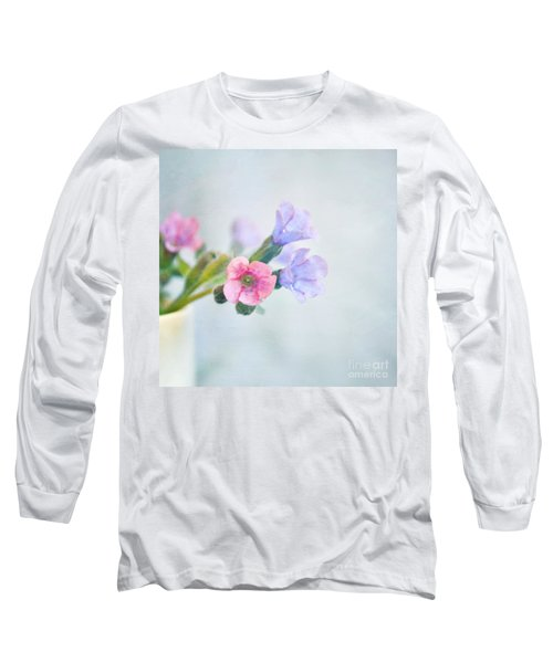 Pale Pink And Purple Pulmonaria Flowers Long Sleeve T-Shirt by Lyn Randle