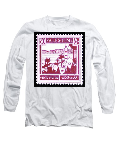 Palestine Vintage Postage Stamp Long Sleeve T-Shirt by Andy Prendy