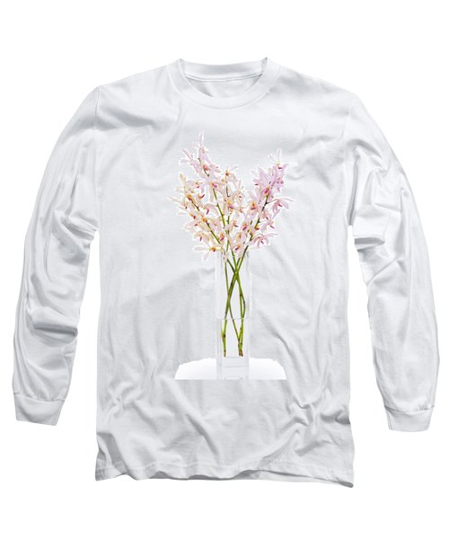 Pink Orchid In Vase Long Sleeve T-Shirt by Atiketta Sangasaeng