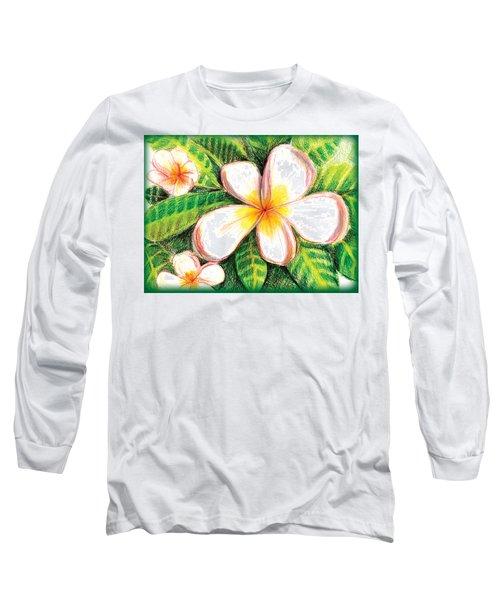Plumeria With Foliage Long Sleeve T-Shirt
