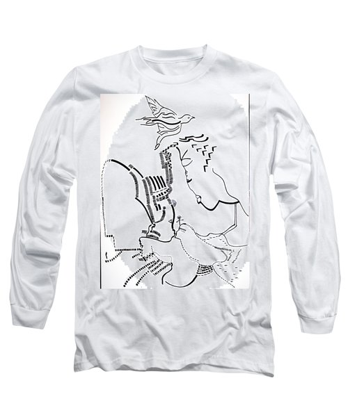 Long Sleeve T-Shirt featuring the drawing Presentation Of Jesus In The Temple by Gloria Ssali