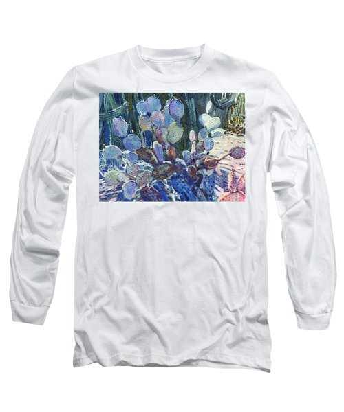 Long Sleeve T-Shirt featuring the painting Purple Opuntia by Donald Maier