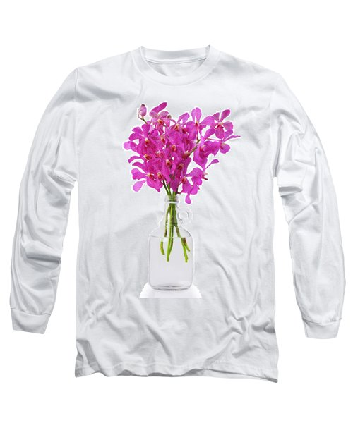 Purple Orchid In Bottle Long Sleeve T-Shirt by Atiketta Sangasaeng