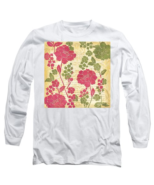 Raspberry Sorbet Floral 1 Long Sleeve T-Shirt by Debbie DeWitt