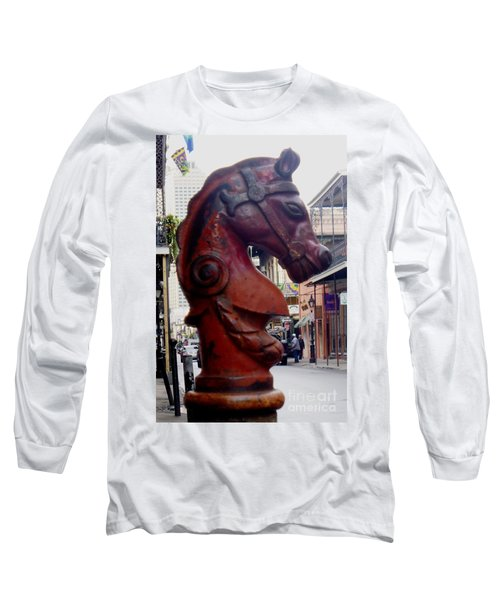 Long Sleeve T-Shirt featuring the photograph Red Horse Head Post by Alys Caviness-Gober