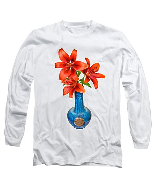 Red Lilies In Blue Vase Long Sleeve T-Shirt