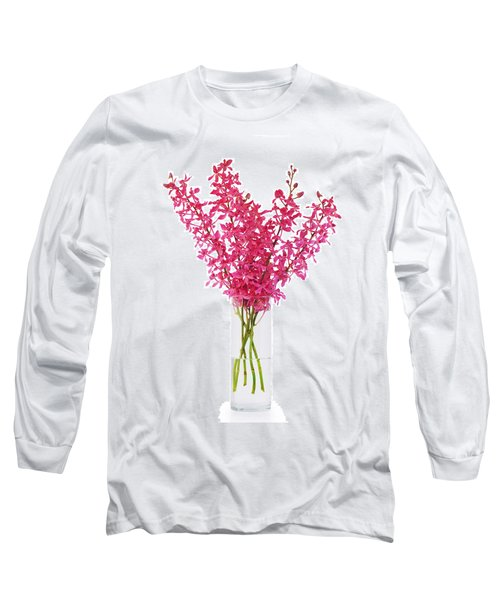Red Orchid In Vase Long Sleeve T-Shirt by Atiketta Sangasaeng