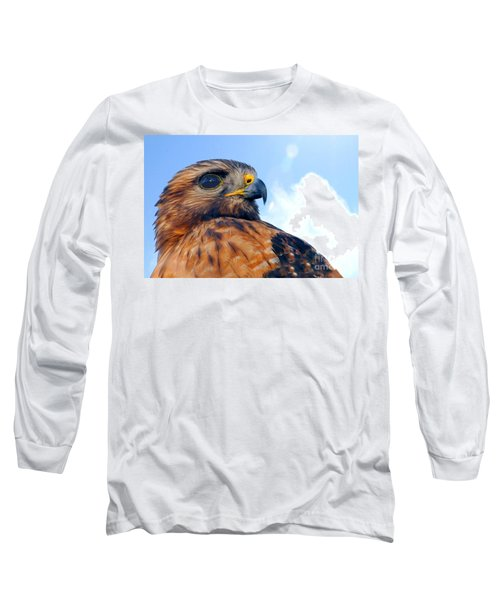 Long Sleeve T-Shirt featuring the photograph Red Shouldered Hawk Portrait by Dan Friend