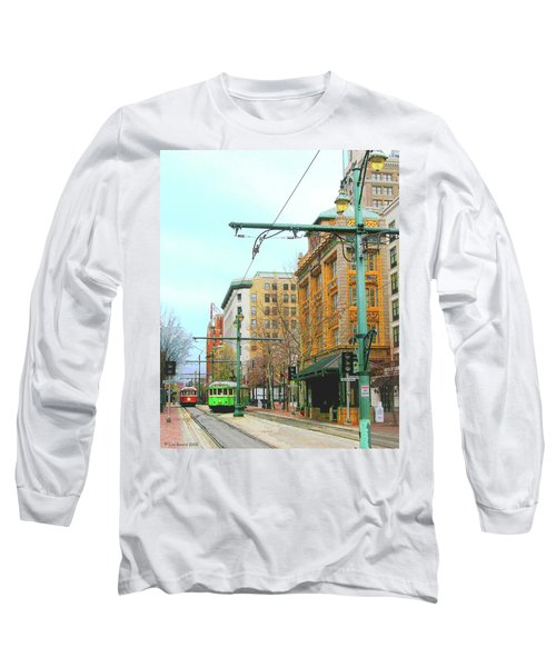 Long Sleeve T-Shirt featuring the photograph Red Trolley Green Trolley by Lizi Beard-Ward