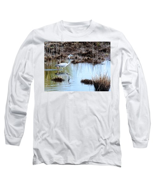 Reflections Of A Blue Heron Long Sleeve T-Shirt