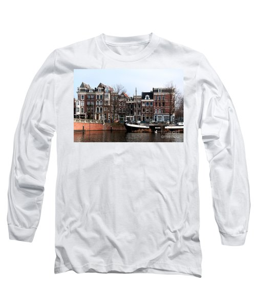 Long Sleeve T-Shirt featuring the digital art River Scenes From Amsterdam by Carol Ailles