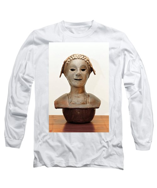 Roman Mask Torso Lady With Head Cover Face Eyes Large Nose Mouth Shoulders Long Sleeve T-Shirt by Rachel Hershkovitz
