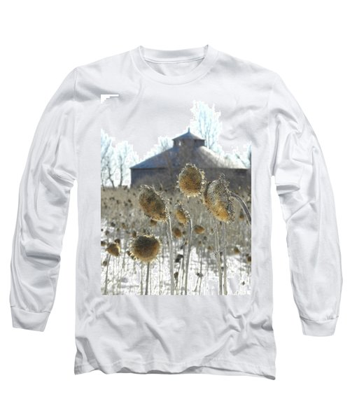 Round Barn With Sunflowers Long Sleeve T-Shirt