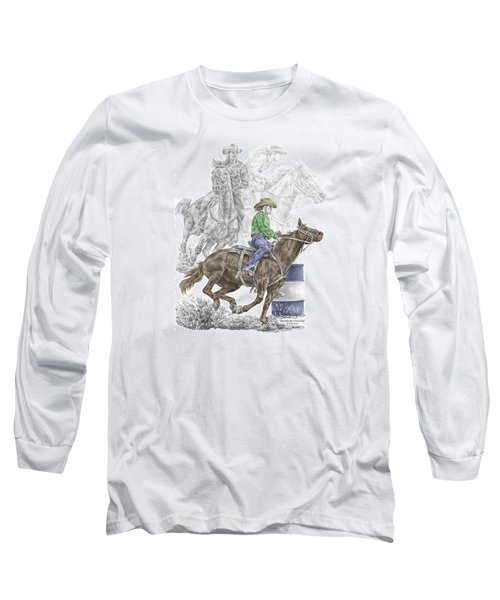 Running The Cloverleaf - Barrel Racing Print Color Tinted Long Sleeve T-Shirt by Kelli Swan