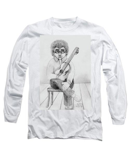 Russian Guitarist Black And White Art Eyeglasses Long Curly Hair Tie Chin Shirt Trousers Shoes Chair Long Sleeve T-Shirt by Rachel Hershkovitz