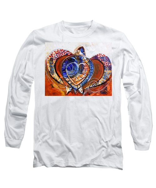 Sea Turtle Love - Orange And White Long Sleeve T-Shirt