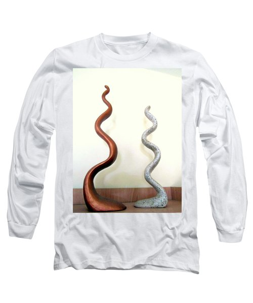 Serpants Duo Pair Of Abstract Snake Like Sculptures In Brown And Spotted White Dancing Upwards Long Sleeve T-Shirt by Rachel Hershkovitz