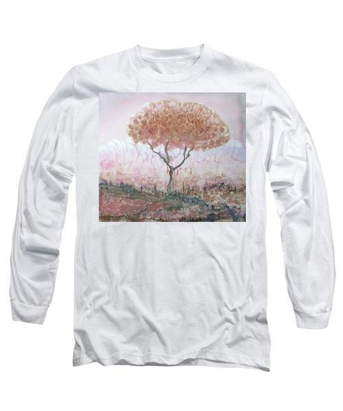 Silk Tree In Brown And Purple  Long Sleeve T-Shirt by Rachel Hershkovitz