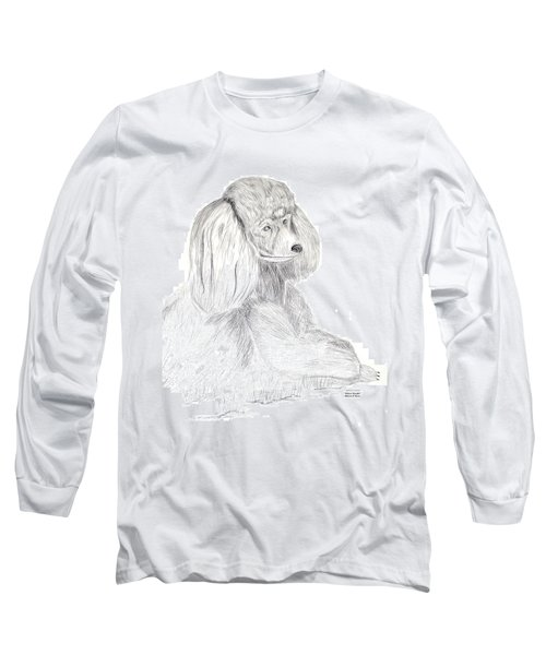 Silver Poodle Long Sleeve T-Shirt by Maria Urso