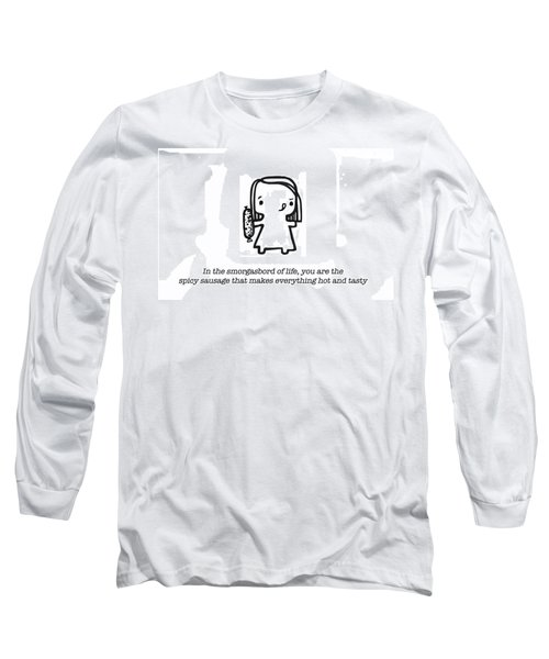 Long Sleeve T-Shirt featuring the painting Spicy Sausage by Leanne Wilkes