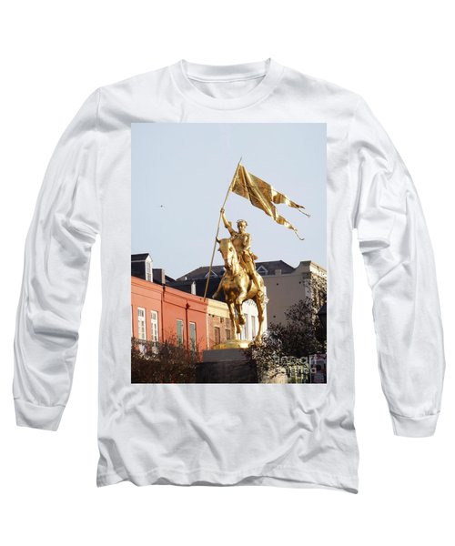 Long Sleeve T-Shirt featuring the photograph St. Joan At Dawn by Alys Caviness-Gober
