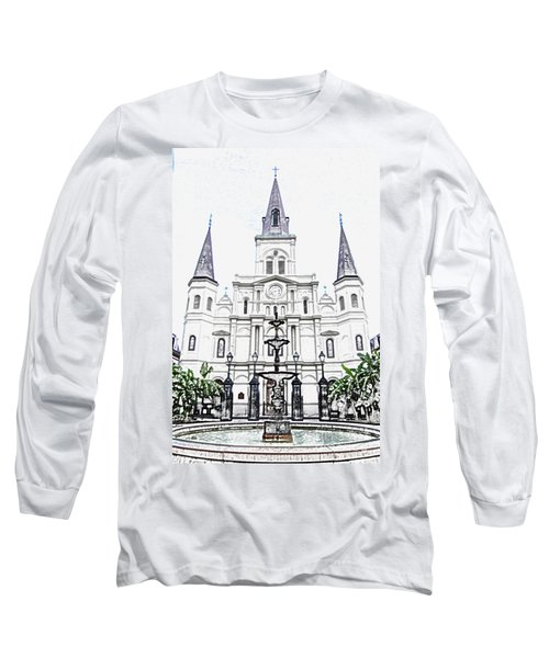 St Louis Cathedral And Fountain Jackson Square French Quarter New Orleans Colored Pencil Digital Art Long Sleeve T-Shirt