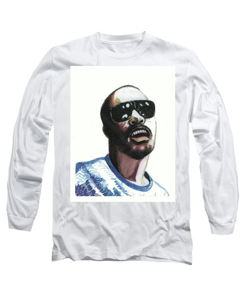Stevie Wonder Long Sleeve T-Shirt by Emmanuel Baliyanga