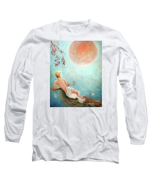 Long Sleeve T-Shirt featuring the painting Strawberry Moon Nymph by Michael Rock