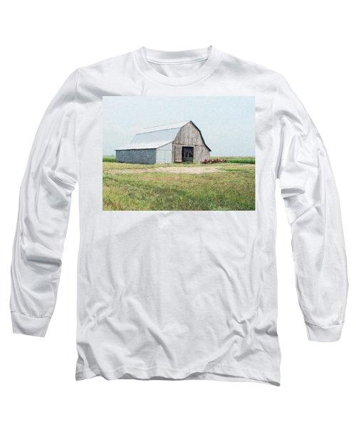 Long Sleeve T-Shirt featuring the digital art Summer Barn by Debbie Portwood
