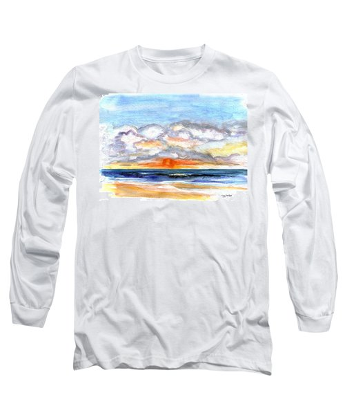 Long Sleeve T-Shirt featuring the painting Sunset Clouds by Clara Sue Beym