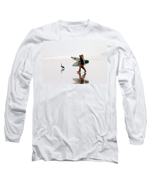 Long Sleeve T-Shirt featuring the photograph Surfers And A Pelican by Alice Gipson