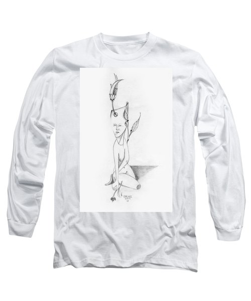 Surreal Woman With Plant And Flower Growing Through Her Long Sleeve T-Shirt by Rachel Hershkovitz