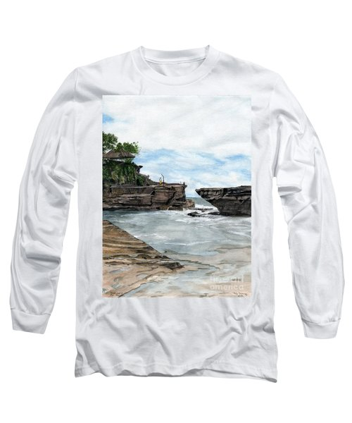 Long Sleeve T-Shirt featuring the painting Tanah Lot Temple II Bali Indonesia by Melly Terpening