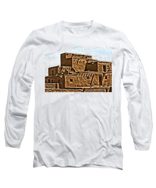 Taos Pueblo Long Sleeve T-Shirt by John Hansen