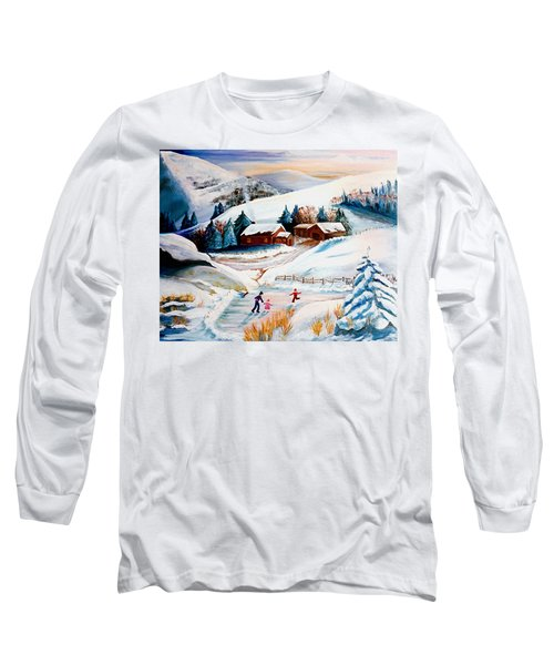 The Pond In Winter Long Sleeve T-Shirt by Renate Nadi Wesley