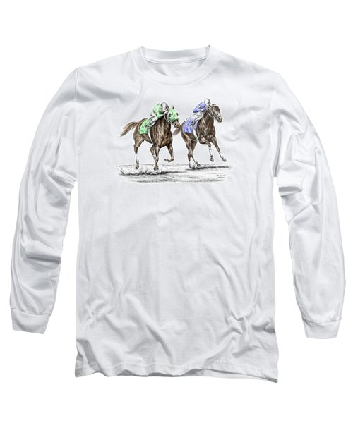 The Stretch - Tb Horse Racing Print Color Tinted Long Sleeve T-Shirt by Kelli Swan