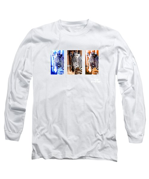 Long Sleeve T-Shirt featuring the photograph The Three Zebras White Borders by Rebecca Margraf