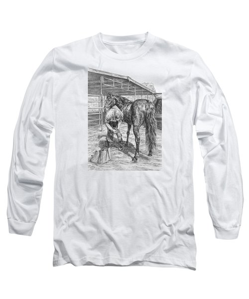 Trim And Fit - Farrier With Horse Art Print Long Sleeve T-Shirt by Kelli Swan