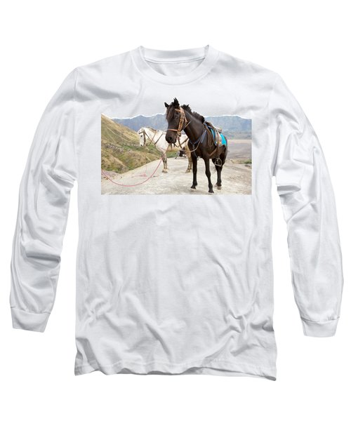 Long Sleeve T-Shirt featuring the photograph Two Horses by Yew Kwang