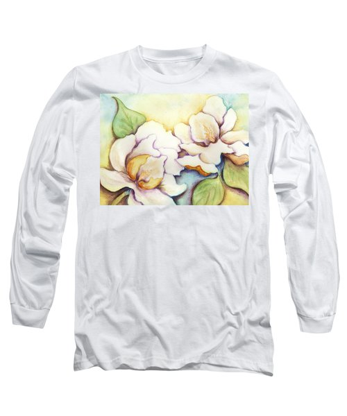 Two Magnolia Blossoms Long Sleeve T-Shirt by Carla Parris