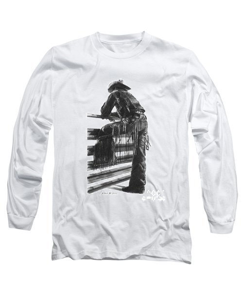 Long Sleeve T-Shirt featuring the drawing Waiting  by Marianne NANA Betts