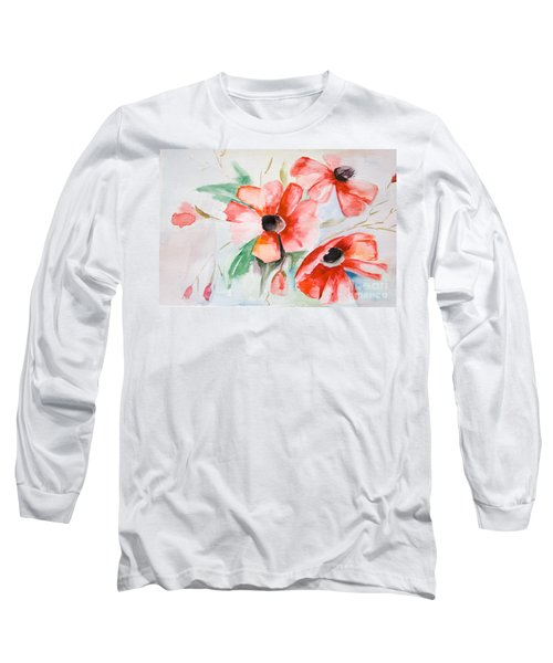 Watercolor Poppy Flower  Long Sleeve T-Shirt