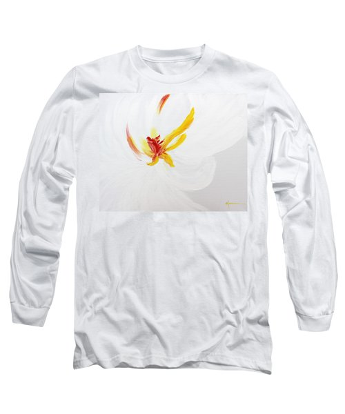 Long Sleeve T-Shirt featuring the painting White Flower by Kume Bryant