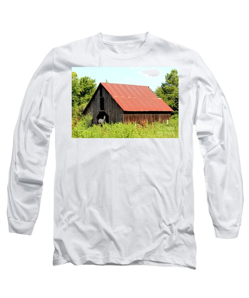 Long Sleeve T-Shirt featuring the photograph White Horse Waiting by Kathy  White