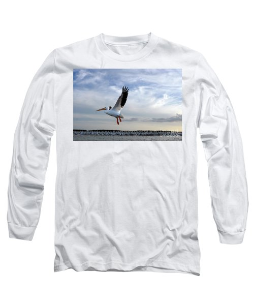 Long Sleeve T-Shirt featuring the photograph White Pelican Flying Over Island by Dan Friend
