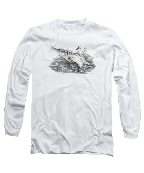 Long Sleeve T-Shirt featuring the drawing White Swan - Dreams Take Flight by Kelli Swan